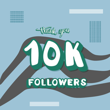 10k followers thank you social media template. Banner for internet networks with zebra striped pattern. 10000 subscribers congratulation post. Vector illustration.