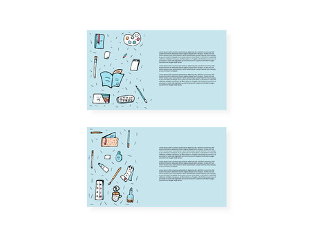 Set of cards of vector office supplies. Collection of stationery in doodle style templates.