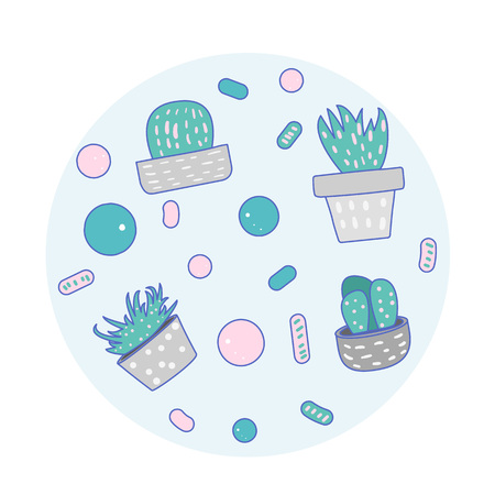 Vector cactus design badge.  Houseplant round composition in doodle style.