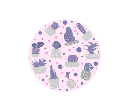 Vector cactus round badge.  Houseplant circle composition in doodle style.