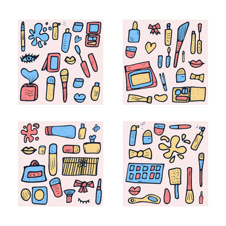 Vector beauty items. Set square composition of doodle style cosmetic tools. Makeup collection.
