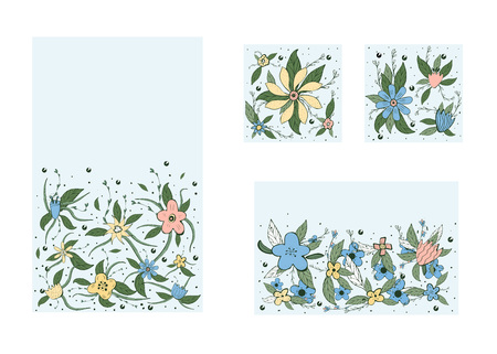 Vector set of banners template with field flowers and leaves set. Doodle style backgrounds with space for text. Vektorgrafik
