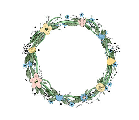 Wild flowers and leaves wreath.  Doodle style round composition with empry space for text isolated on white background.  Vector ilustration.