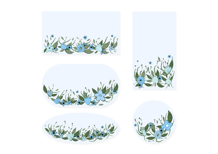 Wild flowers and leaves set of banners template.  Doodle style badges compositions.  Vector ilustration. Ilustração