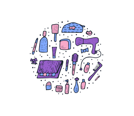 Vector round concept of beauty items. Set of doodle style cosmetic tools. Makeup collection. Illustration