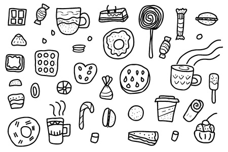 Vector set of sketch desserts. Sweets cakes, donuts, candy and others snacks in doodle style isolated on white background.