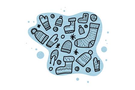 Warm socks, beanies set. Vector composition of winter clothes. Illusztráció