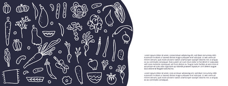 Social media banners template of vector vegetables. Collection of veg in doodle style isolated on white background.