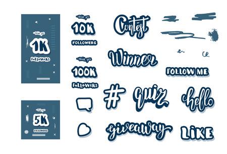 Set of  social media templates and elements. Banners  and decoration for internet networks.  1K, 5K, 10K,  100K followers thank you congratulation posts. Vector illustration. Illusztráció