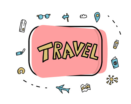Set of travel symbols in doodle style. Hand drawn vector badge with trip elements isolated on white background. Color illustration. Vectores