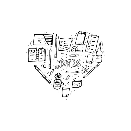 Set of vector office supplies. Collection of stationery in doodle style. Heart shape coloring page of school tools.