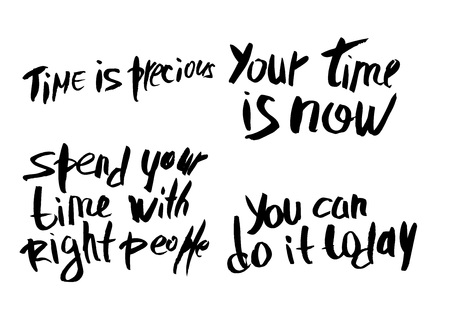 Set of vector quotes about time. Handwritten brush lettering isolated on white background.
