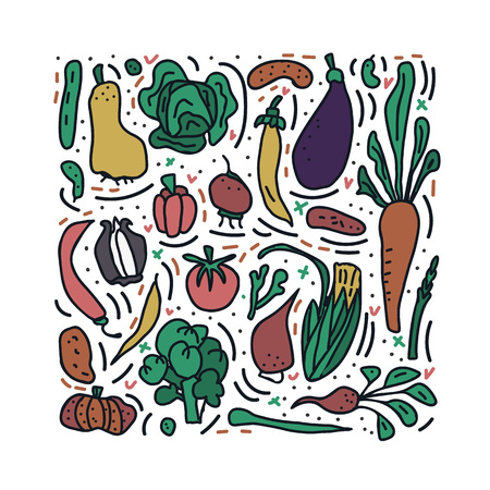 Set of vector vegetables. Collection of veg in doodle style isolated on white background. Square composition.