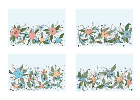 Vector set of horizontal banners templates with field flowers and leaves set. Doodle style backgrounds with space for text. Vektorové ilustrace