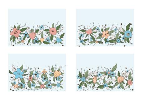 Vektorsatz horizontale Fahnenschablonen mit Feldblumen und -blättern eingestellt. Doodle-Stil-Hintergründe mit Platz für Text. Vektorgrafik