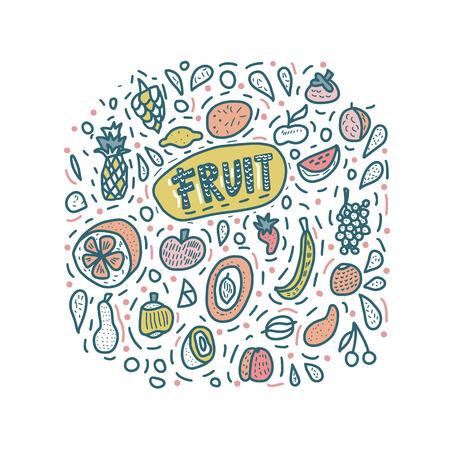 Fruit vector concept in doodle style. Set of fresh apple, pear, orange, mango, lemon and etc. Square composition.