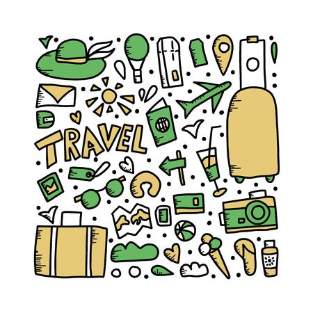 Set of travel symbols in doodle style. Hand drawn vector trip elements isolated on white background. Square poster color illustration.