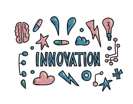 Concept d'innovation dans le style doodle. Illustration de symboles vectoriels. Vecteurs