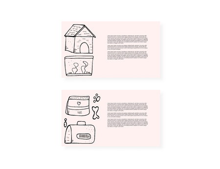 Pet shops card concept. Bnners with domestics animal care symbols in doodle style.