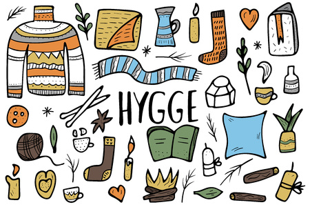 Hygge collection. Danish living concept. Vector isolated symbols of comfort. Set of warm clothes and cozy home things. Vector Illustratie