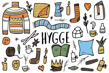 Hygge-Kollektion. Dänisches Wohnkonzept. Vektor isolierte Symbole des Komforts. Set warme Kleidung und gemütliche Heimsachen. Vektorgrafik