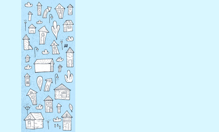 Banner template of vector houses, trees and clouds in doodle style. 向量圖像