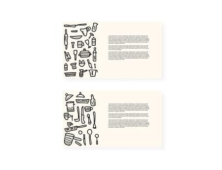 Jeu de cartes vectorielles avec des équipements de cuisine dans un style doodle. Collection de plats de cuisine et d'objets d'outils isolés sur fond blanc. Vecteurs