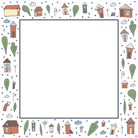 Vector frame of houses, trees and clouds. Square border composition in doodle style.