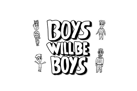Boys will be boys quote. Handwritten lettering with characters isolated on white background. Vector illustration.