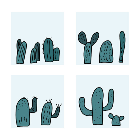 Vector cactus design set. Collection of square composition in doodle style.