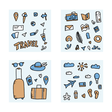 Set of travel symbols in doodle style. Hand drawn vector trip elements isolated on white background. Color illustration.