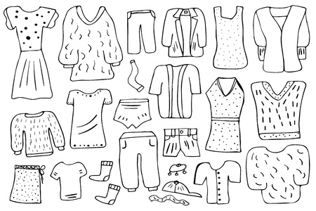Woman clothes and accessories set in doodle style. Collection of female fashion symbols isolated on white background. Vector illustration.