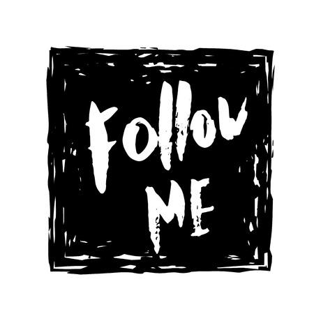 Set of grunge handwritten lettering for social media network. Vector illustration.