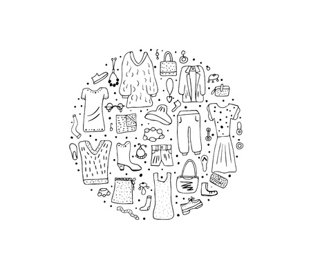 Woman apparel and accessories set in doodle style. Round badge with female fashion symbols. Vector illustration.