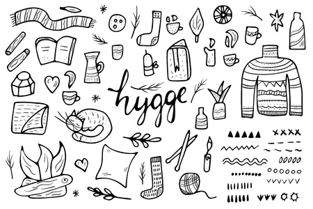 Hygge sketch concept. Vector isolated symbols of comfort in doodle style. Set of warm clothes and cozy elements black and white design. Illusztráció