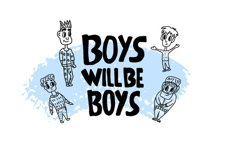 Boys will be boys quote. Handwritten lettering with characters. Vector illustration. Çizim