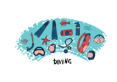 Tauchset von Elementen und Ausrüstung. Symbole und Zubehör für Unterwasseraktivitäten. Tauchmaske, Aqualung und andere Tauchausrüstung. Vektorfarbkonzeptionelle Illustration. Vektorgrafik