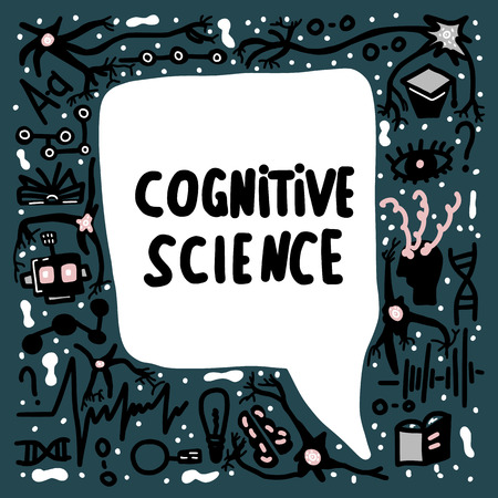 Cognitive science handwritten lettering with speech bubble. Vector poster with doodle decoration. Illustration