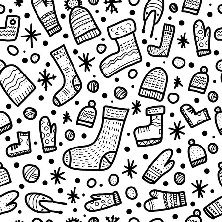 Seamless pattern of warm socks, beanies, gloves. Endless background in doodle style. Vector illustration.