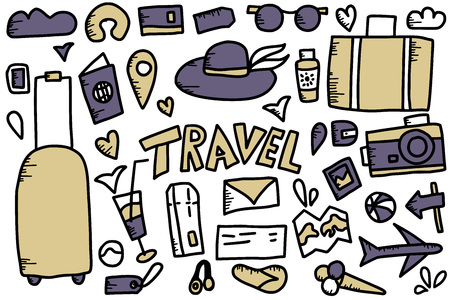 Set of travel symbols in doodle style. Collection of handdrawn vector trip elements isolated on white background. Color illustration.