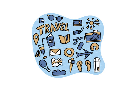 Set of travel symbols in doodle style. Handdrawn trip elements isolated on white background. Vector illustration.