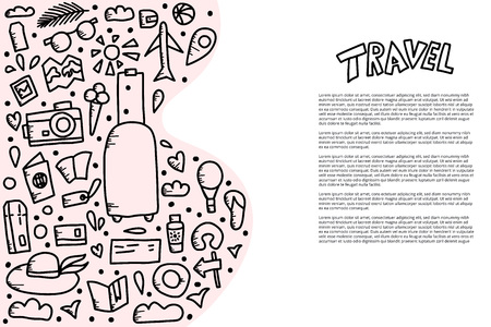 Template of travel symbols in doodle style. Hand drawn vector trip elements banner background.