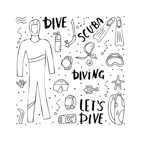 Scuba diving set of elements, lettering and equipment. Underwater activity symbols and accessories. Diver wetsuit, scuba mask, aqualung and other gears in doodle style. Vector conceptual illustration.