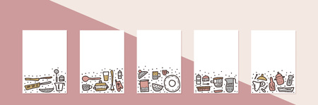 Set of vector banners with kitchen equipments in doodle style. Collection of templates with dishes and tools objects.