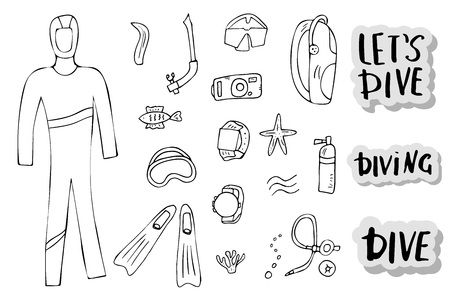 Scuba diving set of elements, lettering and equipment in doodle style. Underwater activity symbols and accessories. Diver wetsuit,  mask, aqualung and other gears items. Vector illustration. Vectores