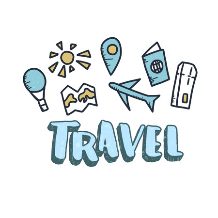 Set of travel symbols in doodle style. Hand drawn vector trip elements with lettering isolated on white background. Color illustration.