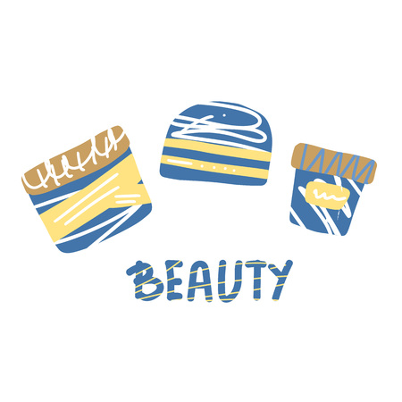 Set of beauty supplies and handwritten lettering Beauty. Hygiene vials, tubes and text in flat style. Vector illustration.