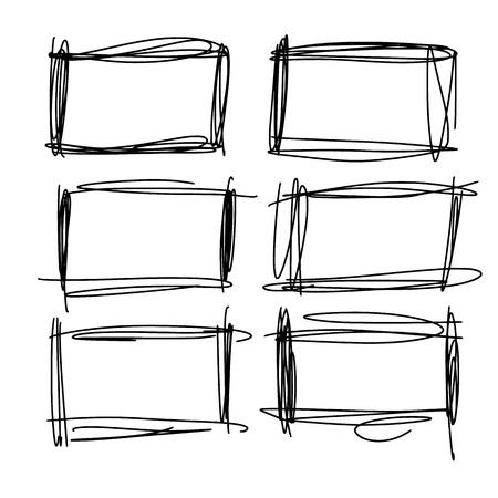 Frames in doodle style. Set of rectangle handdrawn borders. Vector illustration.
