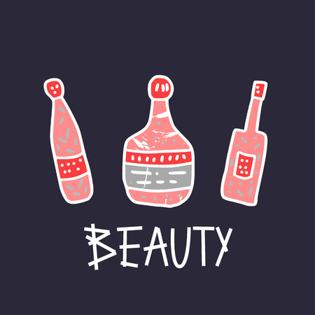 Set of beauty supplies. Hygiene vials, tubes and packages in doodle style. Vector illustration.
