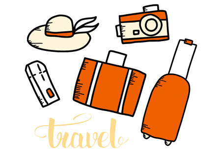 Set of travel symbols in doodle style with lettering. Hand drawn vector trip elements isolated on white background. Color conceptual illustration.